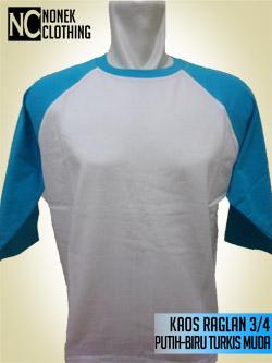 Kaos Raglan 3/4 Putih-Biru Turkis Muda