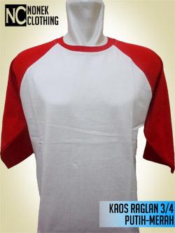 Kaos Raglan 3/4 Putih-Merah