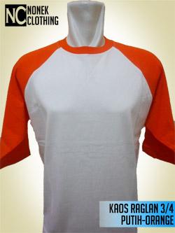 Kaos Raglan 3/4 Putih-Orange