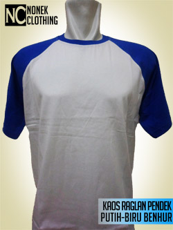 Kaos Raglan Pendek Putih-Biru Benhur