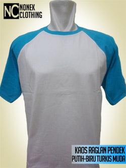 Kaos Raglan Pendek Putih-Biru Turkis Muda