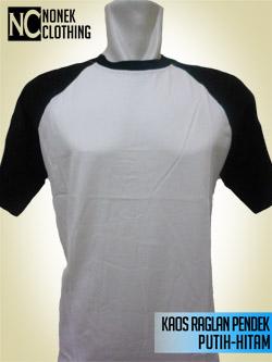 Kaos Raglan Pendek Putih-Hitam