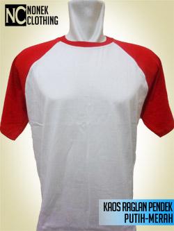 Kaos Raglan Pendek Putih-Merah