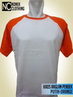 Kaos Raglan Pendek Putih-Orange