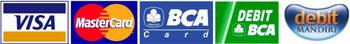 Terima pembayaran via Debit BCA, BCA Card, Debit Mandiri, Kartu Debit/Kredit Visa dan Mastercard