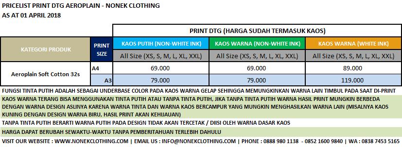Pricelist Print DTG Aeroplain