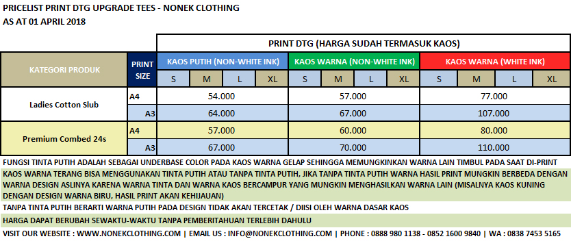 Pricelist Print DTG Upgrade Tees